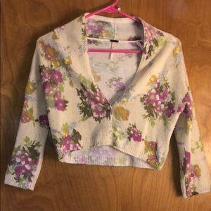 Free People - short flower Cardigan -sz S